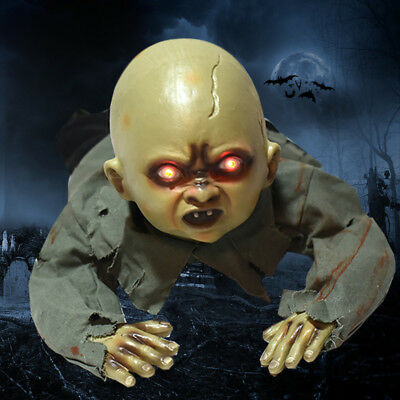 Crawling Zombie Baby Horror Haunted Motion Sounds Light Halloween Moving Prop