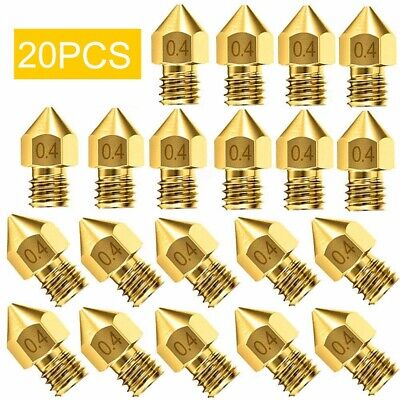 20Pcs 3D Printer Nozzle Accessory MK8 0.4mm For CR-10 For Ender 3 For Anet A8