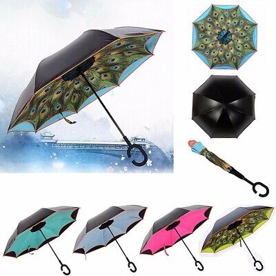 UK Upside Down Reverse Inverted Umbrella C Shape Handle Double Layer Inside Out