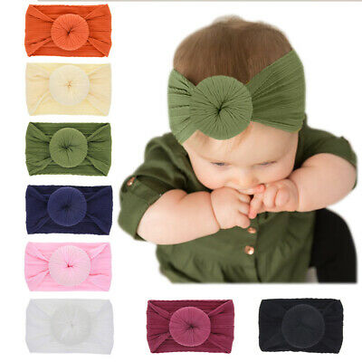 Newborn Baby Headbands Round Knot Headwrap Wide Hair Band for Toddler Girl