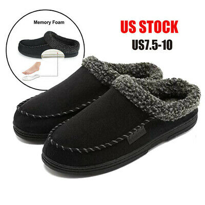 Mens Home Slippers Cozy Memory Foam Moccasin Suede Flat Fuzzy Wool Plush Shoes