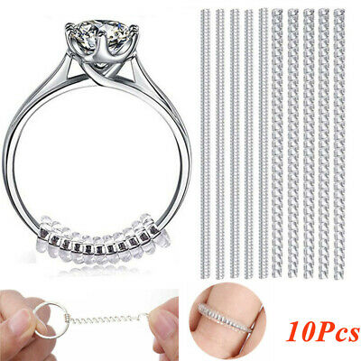 10Pcs Clear Ring Resizer Jewelry Size Reducer Spacer Guard Adjuster Invisible