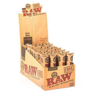 32 RAW Pre-Rolled Classic Hemp Cones - 6 Cones Per Pack Total 192 Papers  1 1/4