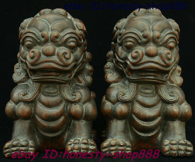 "8"" Chinese Huang Huali Wood Carved Fengshui Foo Fu Dog Guardion Lion Statue Pair"