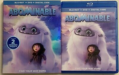 Dreamworks Abominable Blu Ray Dvd 2 Disc Set + Slipcover Sleeve Free Shipping