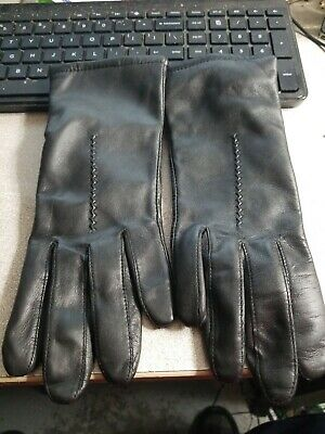 Fownes Black Crush Leather Gloves Antron Lining Size 7 WPL 9522