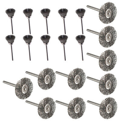 20Pc Wire Wheel Brushes Polishing Steel Shank Clean For Power Rotary Tools 25mm