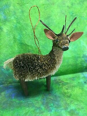 Primitive Christmas Ornament Reindeer Natural Woodland Creature Country Rustic