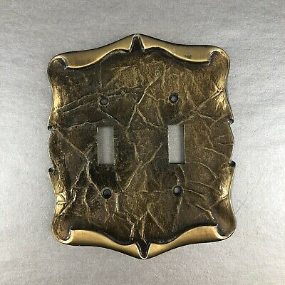 Vintage Amerock Decorative Metal Double Switch Plug Plate Cover Brass Free Ship