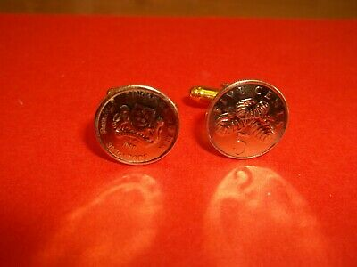 SINGAPORE 5 (FIVE) CENT COIN CUFF LINKS - 1985 to 1995 - PICK YOUR YEAR