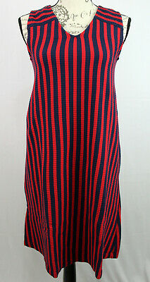 Hanna Andersson Soft Ribbed V Neck Dress Red Navy Stripe Cotton Size XS NWT
