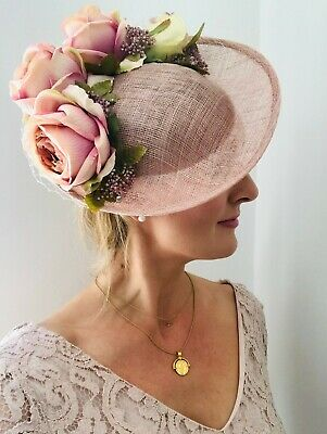 Handmade Statement Large Floral Side Hat Fascinator Vintage Pink Blush Crystals