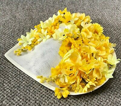 Handmade Statement Large Side Saucer Floral Hat Fascinator Bright Yellow Ivory