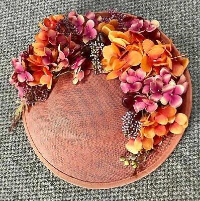 Handmade Statement Large Floral Saucer Side Fit Hat Fascinator Rust Orange Pink