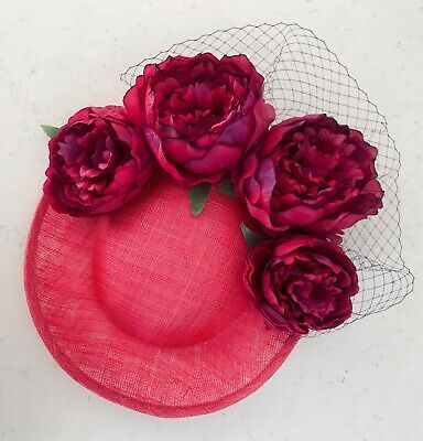 Handmade Statement Large Side Saucer Floral Hat Fascinator Hot Pink Purple Net