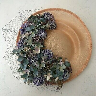 Handmade Statement Side Floral Hat Fascinator Purple Blue Grey Peach Copper