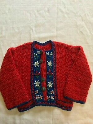 Vintage Hand Knit Wool Sweater, Toddler Size