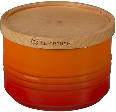 "Le Creuset Enamel Stoneware 4"" Canister with Wood Lid, 12 oz, Flame"