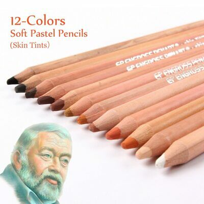 12 Professional Soft Pastel Pencils Wood Skin Tints Pastel Colored Pencils
