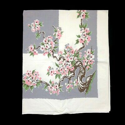 Vintage Cherry Blossom Tree Flower Floral Rectangle Tablecloth Table Cover VTG