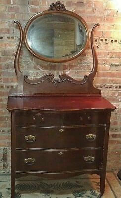 Antique Vanity Dresser Chest of Drawers w Attached Mirror & Curved Drawers