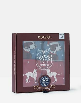 Joules Mens Pud A Sock In It Boxers and Socks Gift Set - RED DOGS