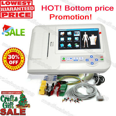 CE Touch Screen Digital 6 Channel ECG EKG machine Electrocardiograph PC software