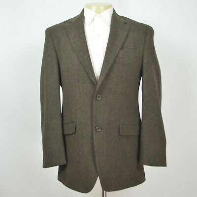 Mint RALPH LAUREN 100% Wool Tweed Olive Two Button Sport Coat Sz 38R