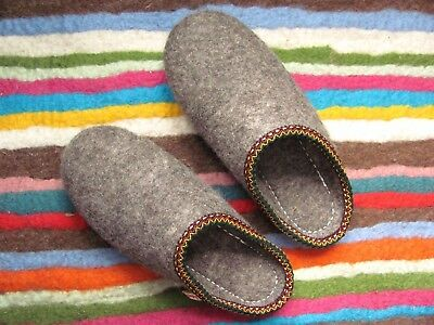 Traditional Hand Made 100% Felt Wool Slippers Mule Natural Thermal Children Boys