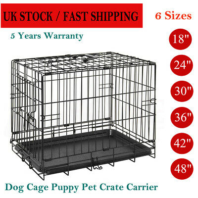 Black Dog Cage Puppy Pet Crate Carrier - Small Medium Large S M L XL XXL Metal