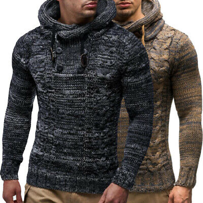 Mens Warm Knitted Hooded Long Sleeve Jumper Pullover Casual Sweater Winter Coat