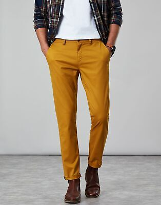 Joules Mens The Laundered Chino Slim Fit Trousers in GOLD FINCH