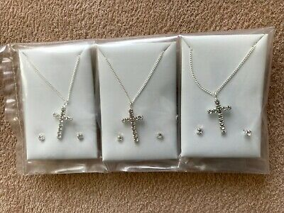 "JOBLOT-3 sets of diamante cross pendant + 18"" chain 0.4cm earrings.Silver plated"