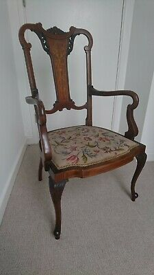 Quality Edwardian Inlaid Mahogany Occasional Carver Chair Excellent condition