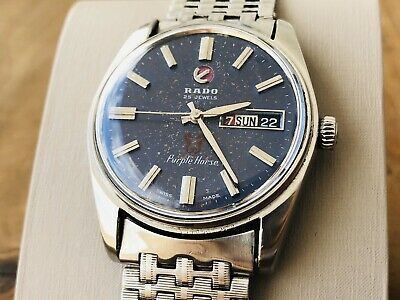 Vintage RADO Purple Horse Automatic Swiss Made Watch Date Day