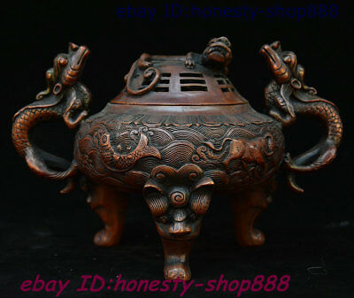 Chinese Dynasty Palace Bronze Dragon Loong Beast Lion Head Incense Burner Censer