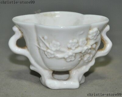 Old Chinese Dehua White Porcelain Glaze Plum Blossom Flower Goblet Wineglass Cup
