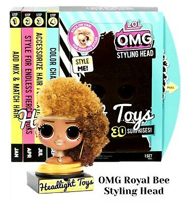 LOL Surprise ROYAL BEE OMG Fashion Doll Styling Head Style Hair Activity Playset