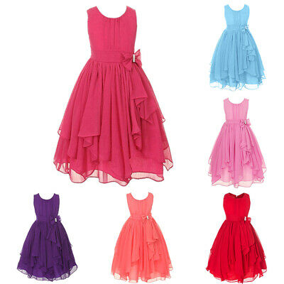 Flower Dress Evening Prom Formal Girls Party Wedding Mini Bridesmaid Gown Age