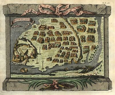 Diu India Portuguese Colony 1746 charming engraved city plan