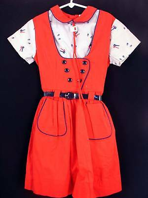 Very Rare Deadstock 1940'S Girls Cotton Dress Size 5-6