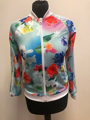 F904 Girls Adidas Originals Multi Colour Floral Tracksuit Jacket Age 11-12 Years