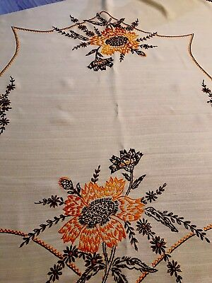 Vintage Yellow Sunflower Tablecloth Stitched Square 42x44 Inches (3)