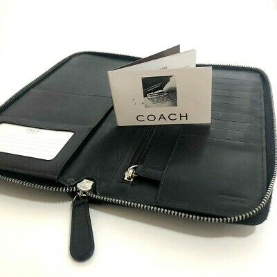 COACH Black Canvas LEATHER Travel Organizer Zip Around Wallet