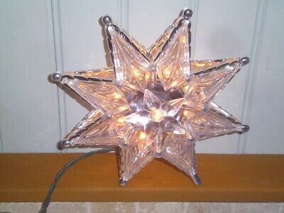 Kurt Adler Christmas Tree Topper 3-D Hard Plastic STAR Gold lights Silver w Box