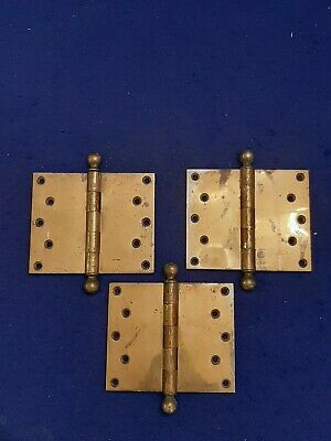 "3 HEAVY ANTIQUE SARGENT 6 x 5"" ART CRAFT CAST BRASS BALL TOP TIP DOOR HINGE LOOK"