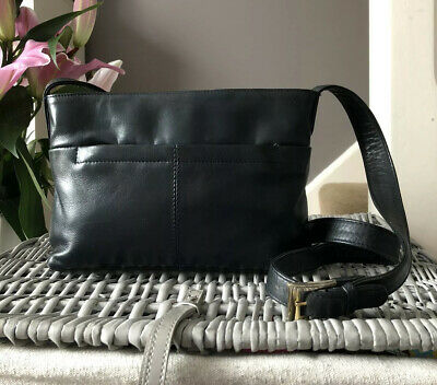 Lovely Genuine Vintage Tula Navy Blue Leather Small Shoulder Bag