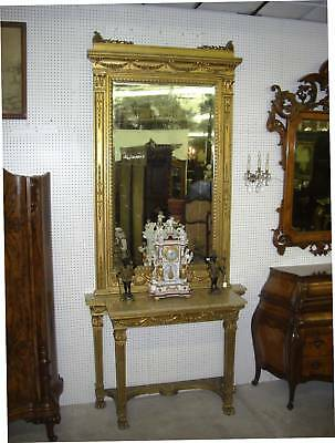 Antique French Gold Gilt Louis XVI Console Beveled Glass Mirror 10 Ft Tall C1850