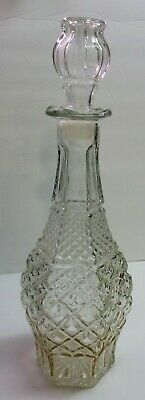 """Vintage WEXFORD Anchor Hocking WINE DECANTER & STOPPER 14"""" x 5"""" CLEAR GLASS"""