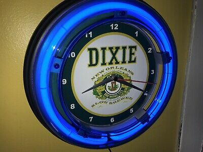 Dixie New Orleans Beer Bar Tavern Man Cave Blue Neon Wall Clock Sign